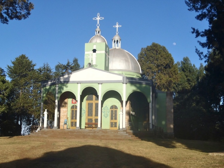The Ethiopian Orthodox church in my town of Shambu. It's the most distinctive landmark in town.