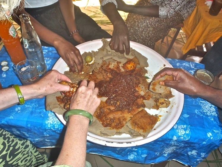 """Eating together means eating from a communal plate. You can't be afraid of a little old thing called """"someone else's germs."""""""