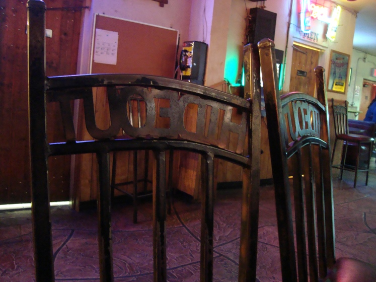 "Chairs at the Hideout in Tucson, Arizona. Locals say the place ""used to be a real dive."" Photo by Charish Badzinski."