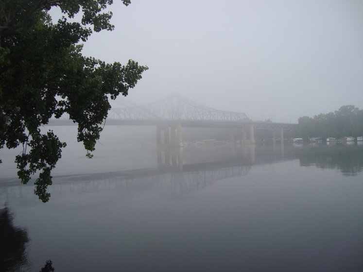 The Cass Street Bridge over the Mississippi in La Crosse, Wis. emerges from thick morning fog. Photo by Charish Badzinski.