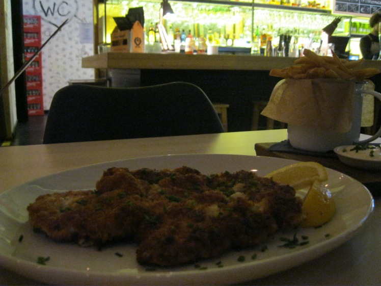 Pork schnitzel at St. Vitus in Tallinn, Estonia. Yum. Photo by Charish Badzinski.