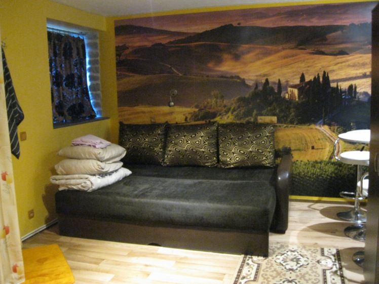 My Airbnb rental in Tallinn, Estonia included a wall mural of Italy. Photo by Charish Badzinski.