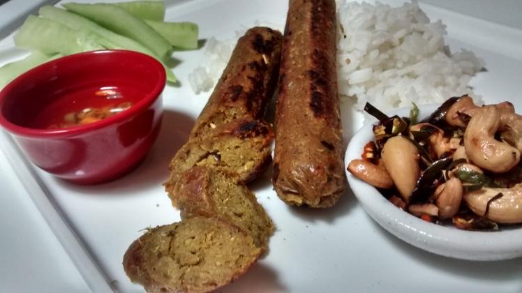 plated vegan sai ua, or vegan Chiang Mai sausages