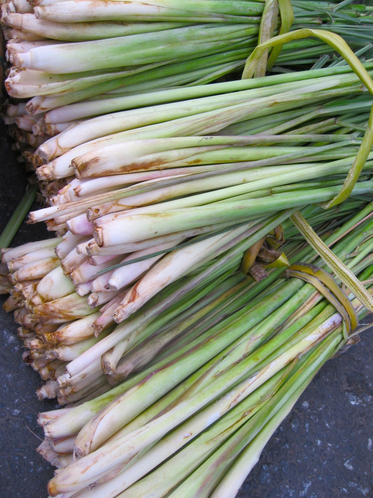 fresh lemongrass at the central market in hoi an