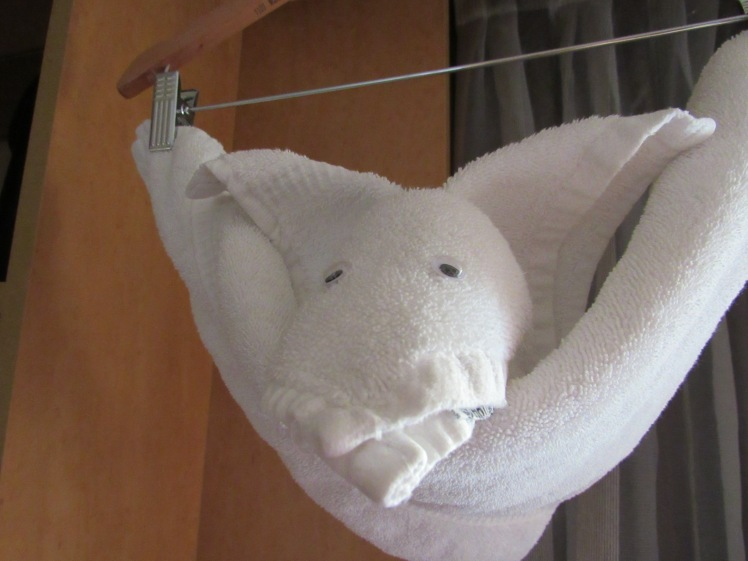 the bat - towel art aboard the MS Oosterdam