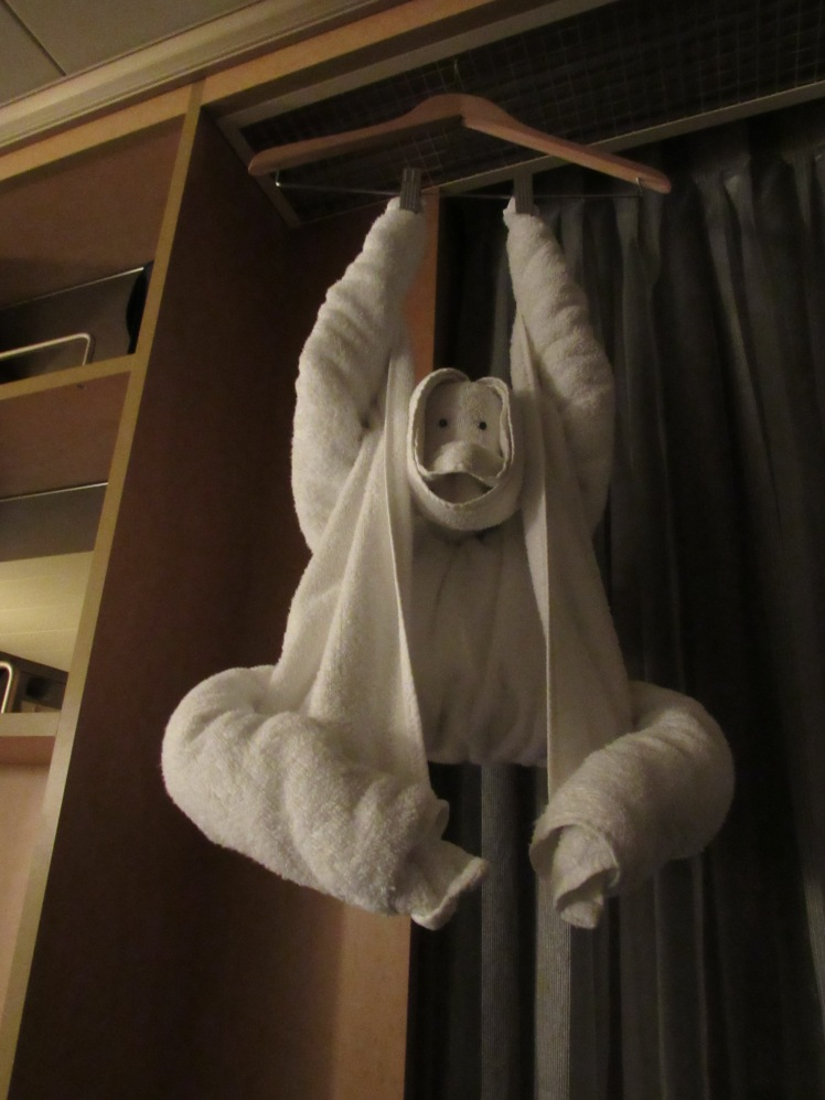 the monkey towel animal on board the MS Oosterdam cruise ship - Holland America Cruise Line
