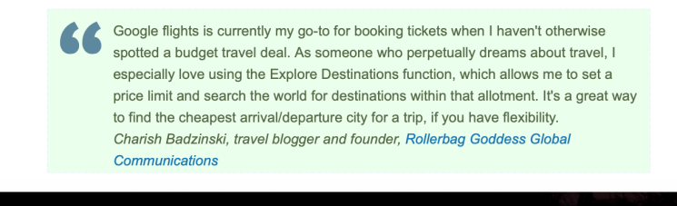 Charish Badzinski, travel writer, quoted in media