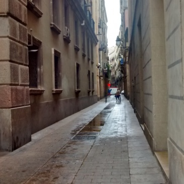 Dawn in the narrow streets of Barcelona
