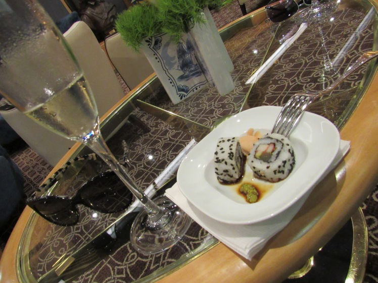 sushi in the Neptune lounge